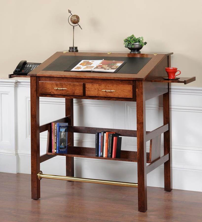 The Downing Street Executive Curio Desk: Anniston Solid Wood Stand Up Desk