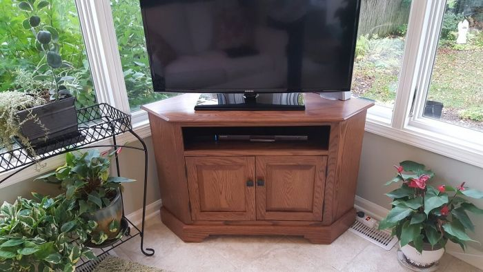 b6249fd43855 Amish Oak TV Console Review - Countryside Amish Furniture