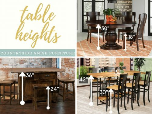 Standard Height vs. Counter Height vs. Bar Height Amish Dining Tables
