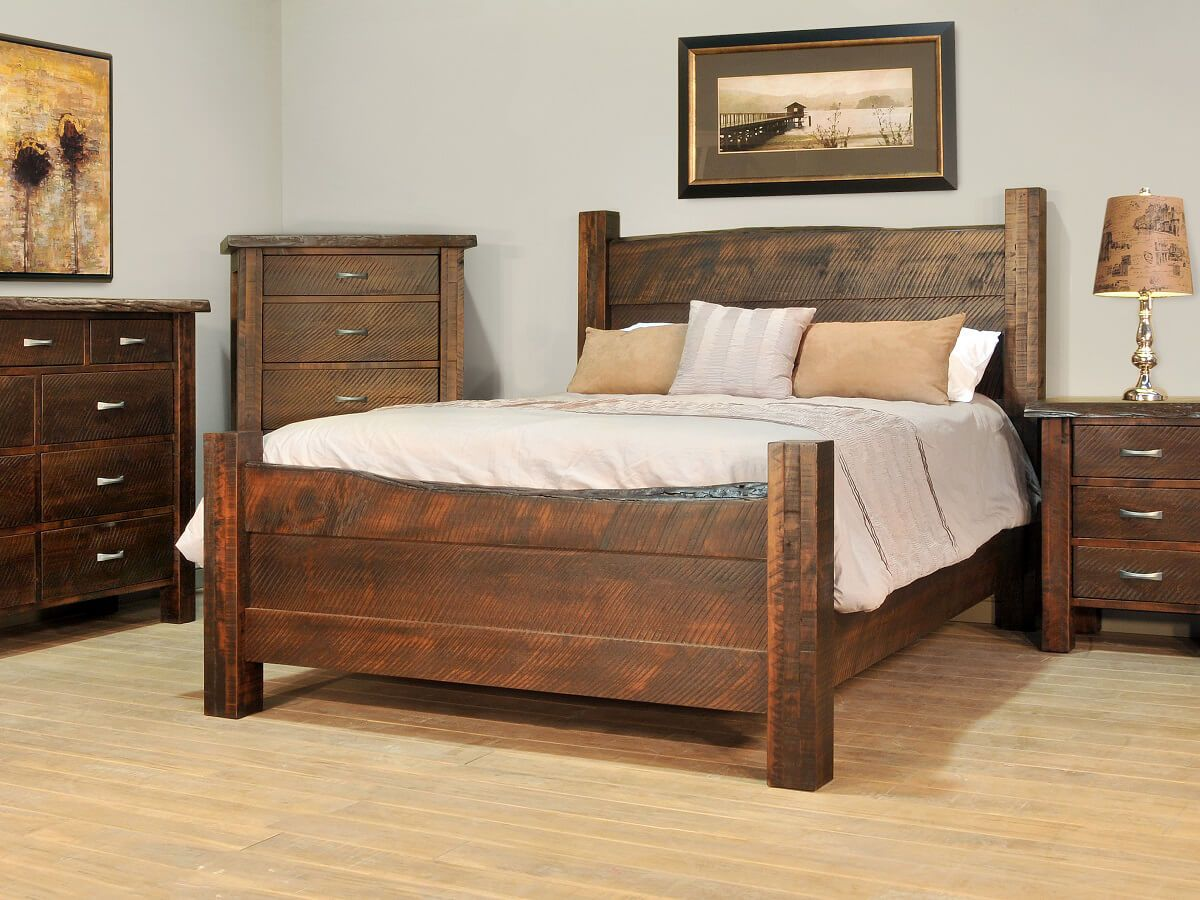 Live Edge Bed Arapaho Pass Rustic Live Edge Bed Countryside Amish Furniture