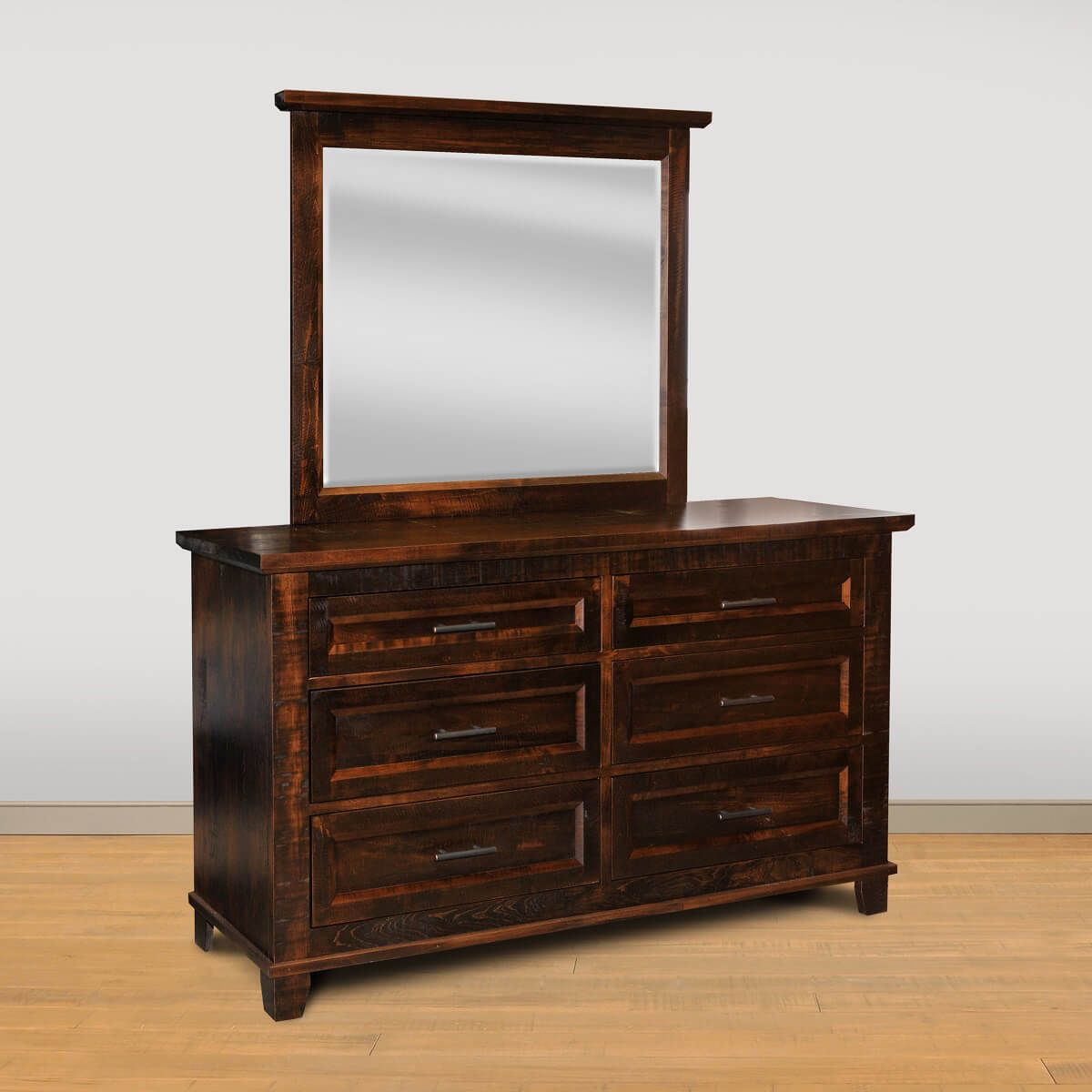 Rough Sawn Dresser and Mirror