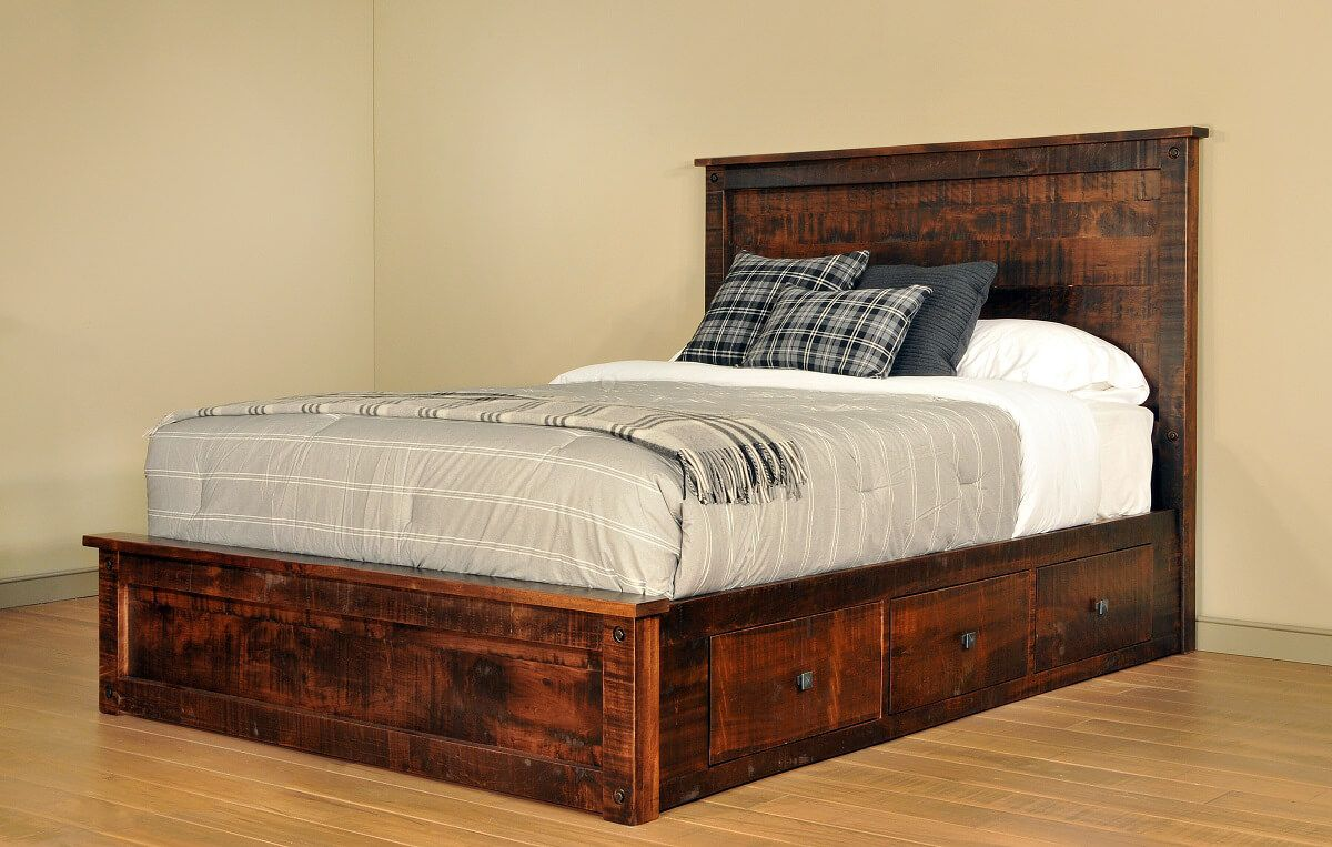 Rustic Bed with Storage Drawers