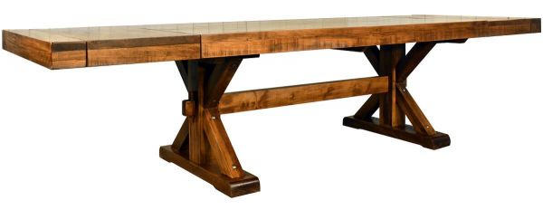 Rough Sawn Dining Table with End Leaves