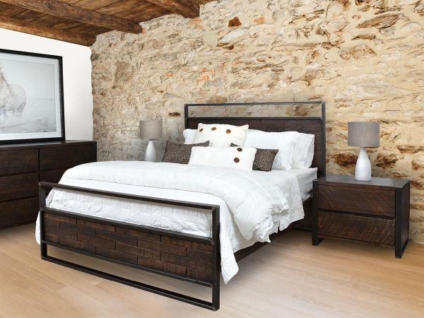 Chauncey Industrial Bedroom Set, Wood And Metal Bedroom Furniture Set