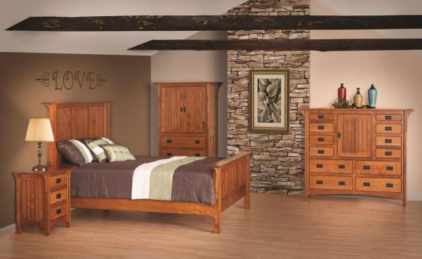 mission style bedroom set. Boasting black hammered tacks  Walnut spline and soft close drawer slides the Lunada Bedroom Set blends Mission styling with Contemporary amenities Style Furniture Countryside Amish