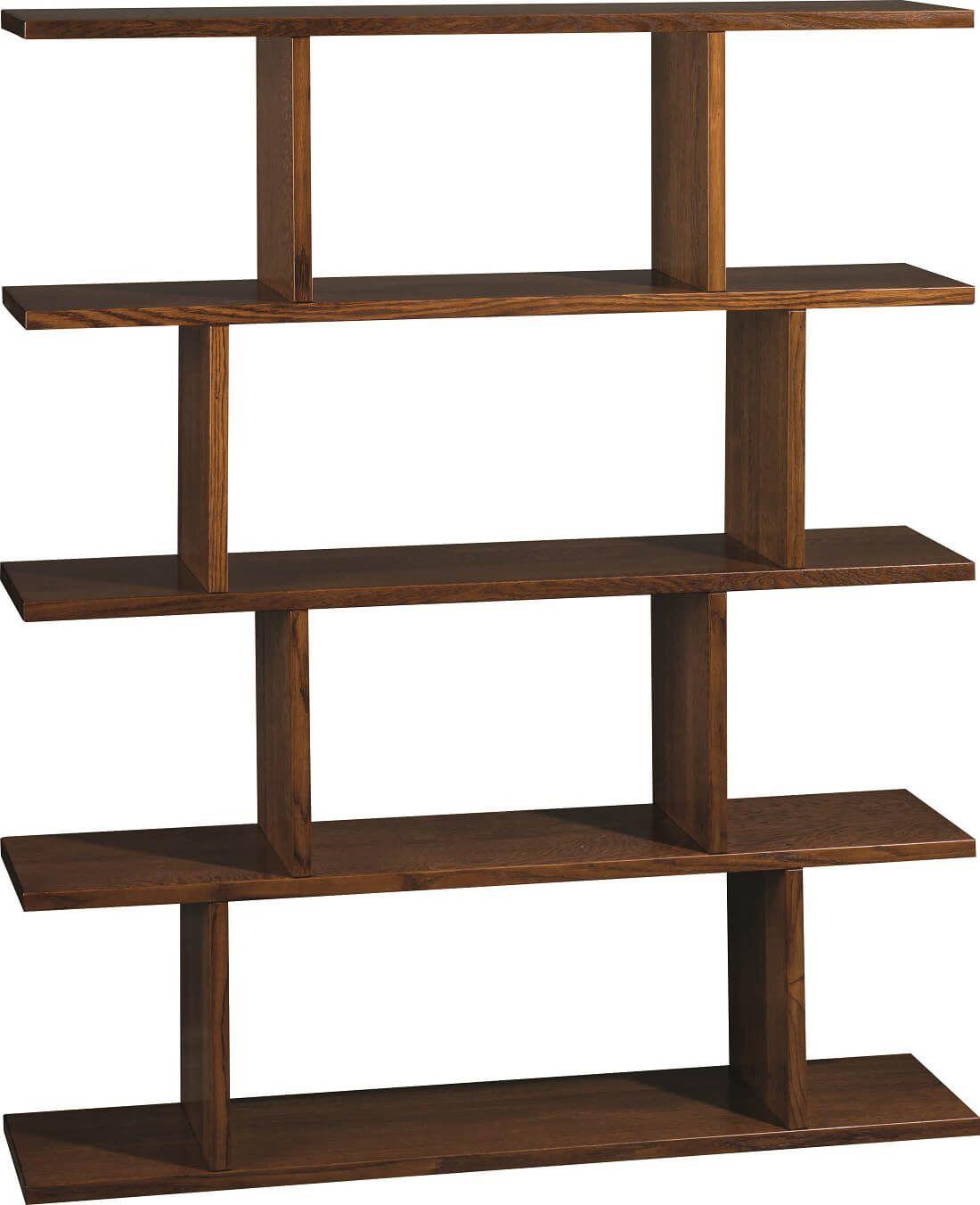 Kira Modern Bookcase in Red Oak