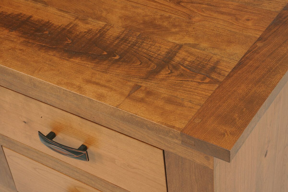 Roswell Nightstand - Rustic Plank Top Detail