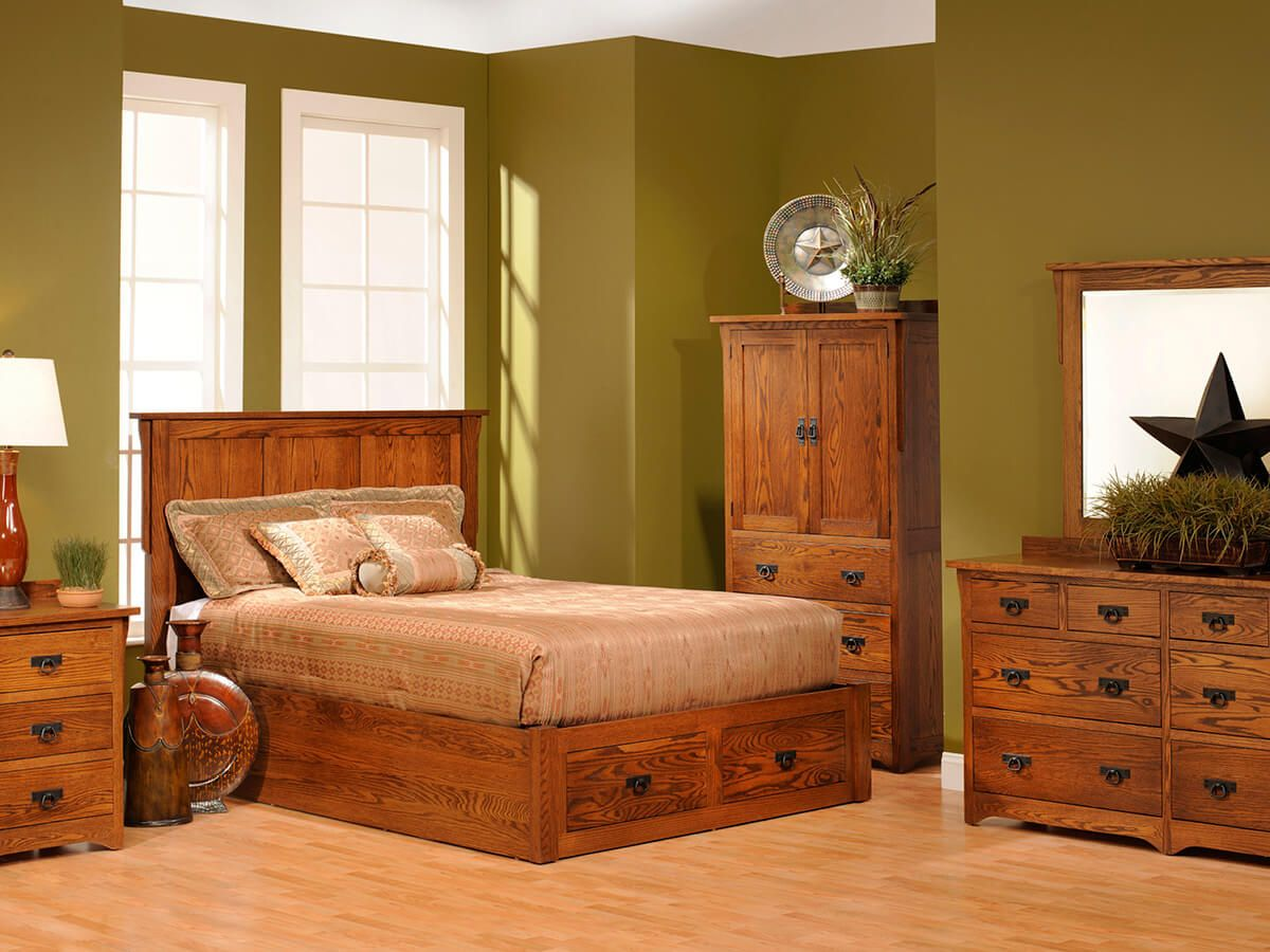 Barcelona Oak Platform Bed - Countryside Amish Furniture