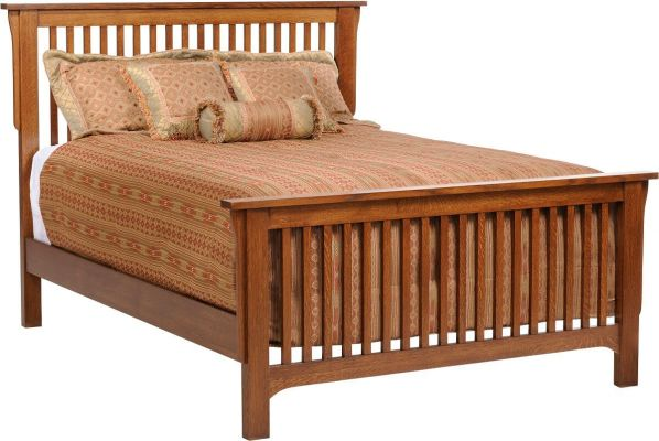 Barcelona Oak Mission Slat Bed Countryside Amish Furniture