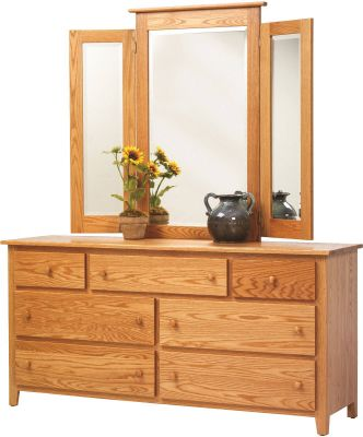 Brentwood Solid Oak Dresser with Mirror