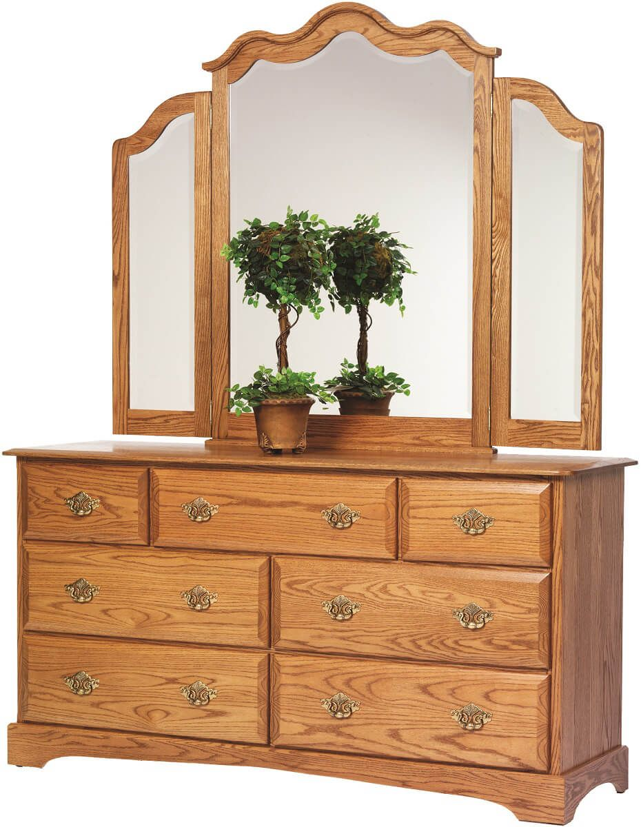 Cambridge Dresser with Mirror in Solid Oak