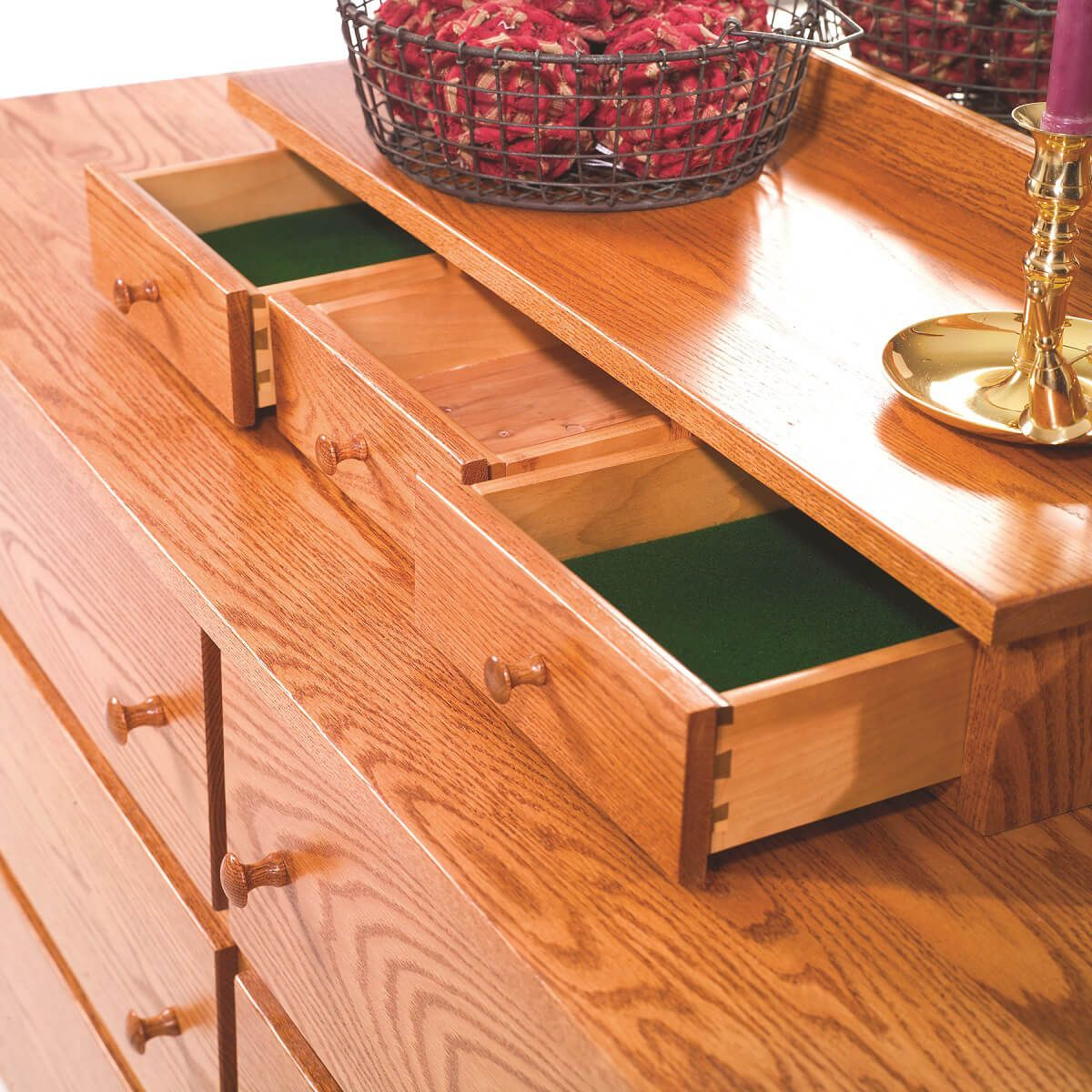 Upper Lined Drawers