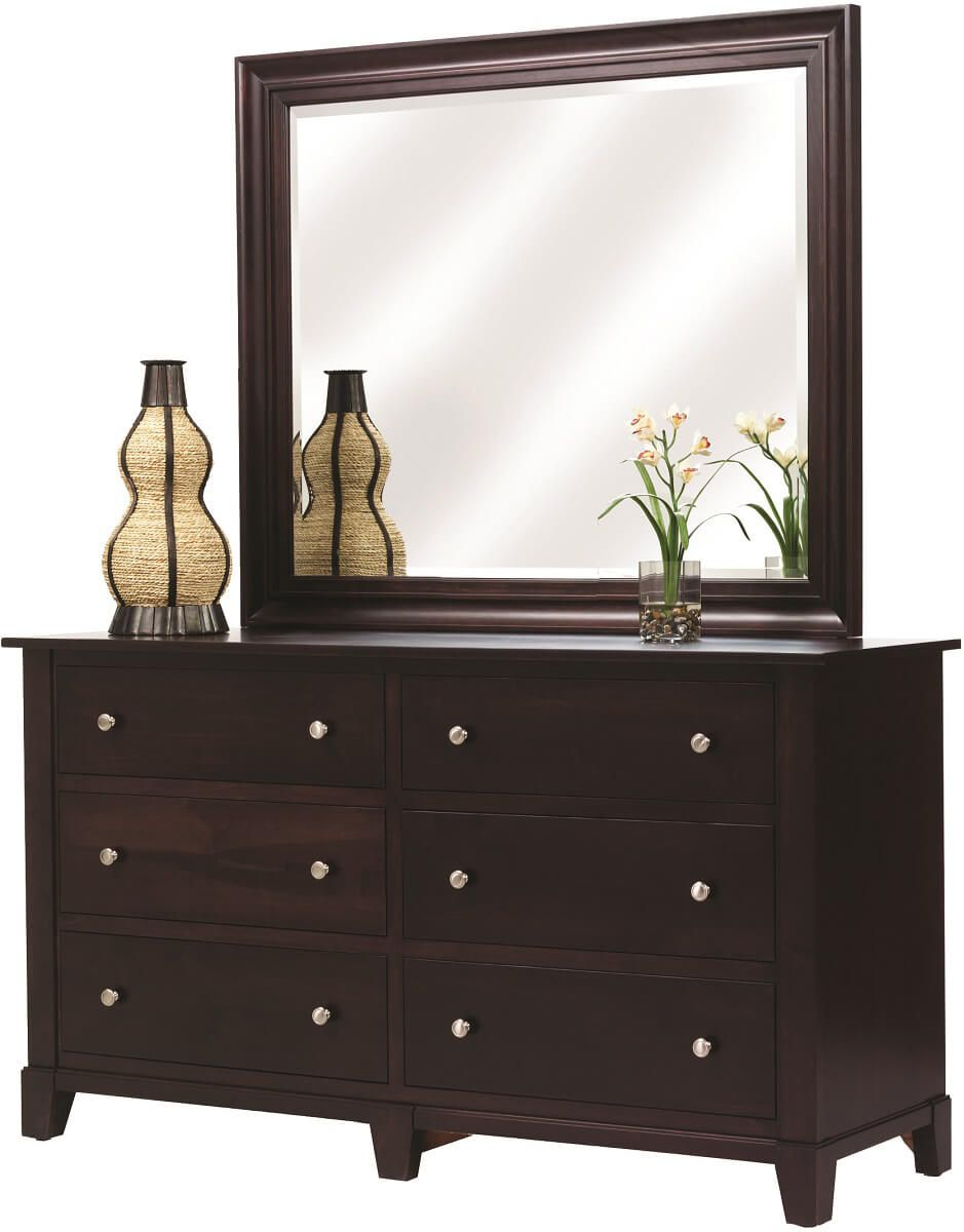 Darien 6-Drawer Low Dresser with Mirror