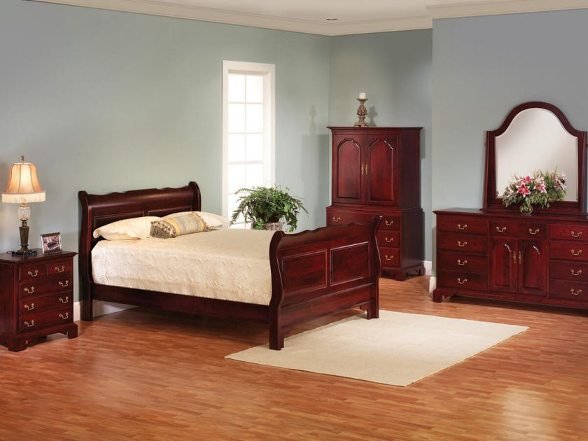 Fairmount heights cherry bedroom set countryside amish - Queen anne bedroom furniture cherry ...