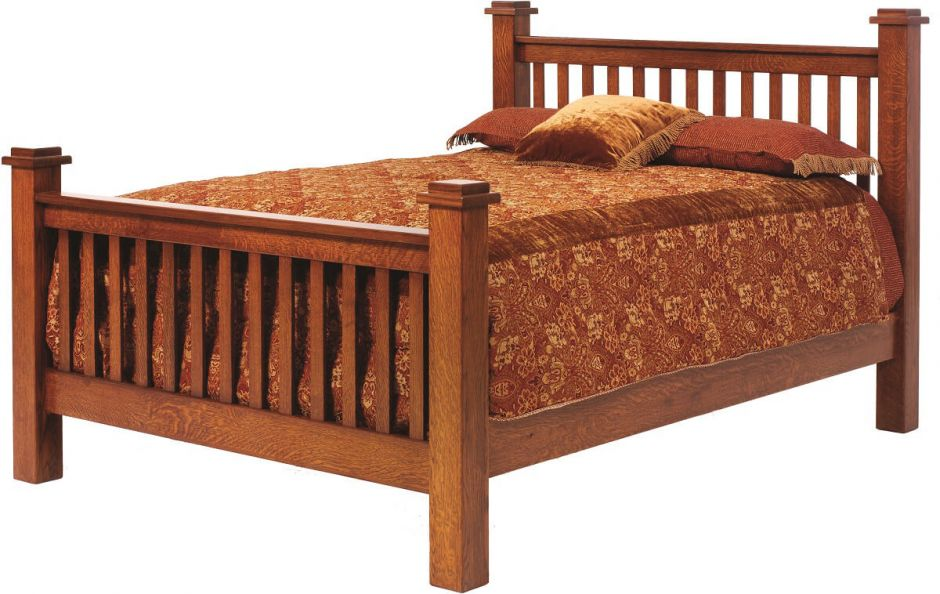 Handmade mission beds countryside amish furniture for Mission style bed frame plans