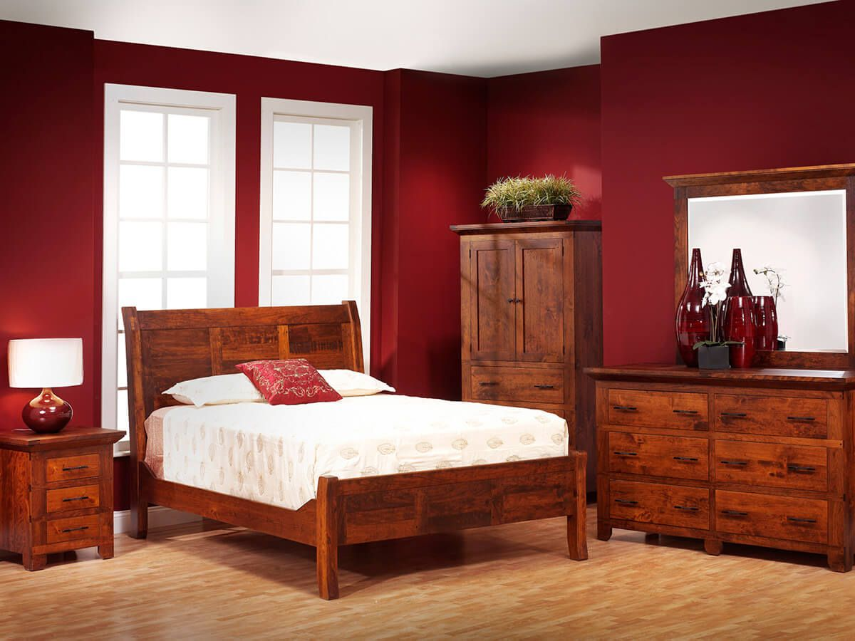 Roswell Rustic Cherry Bedroom Furniture Set