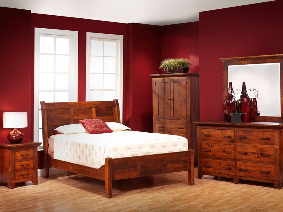 Roswell Rustic Cherry Sleigh Bed Countryside Amish Furniture