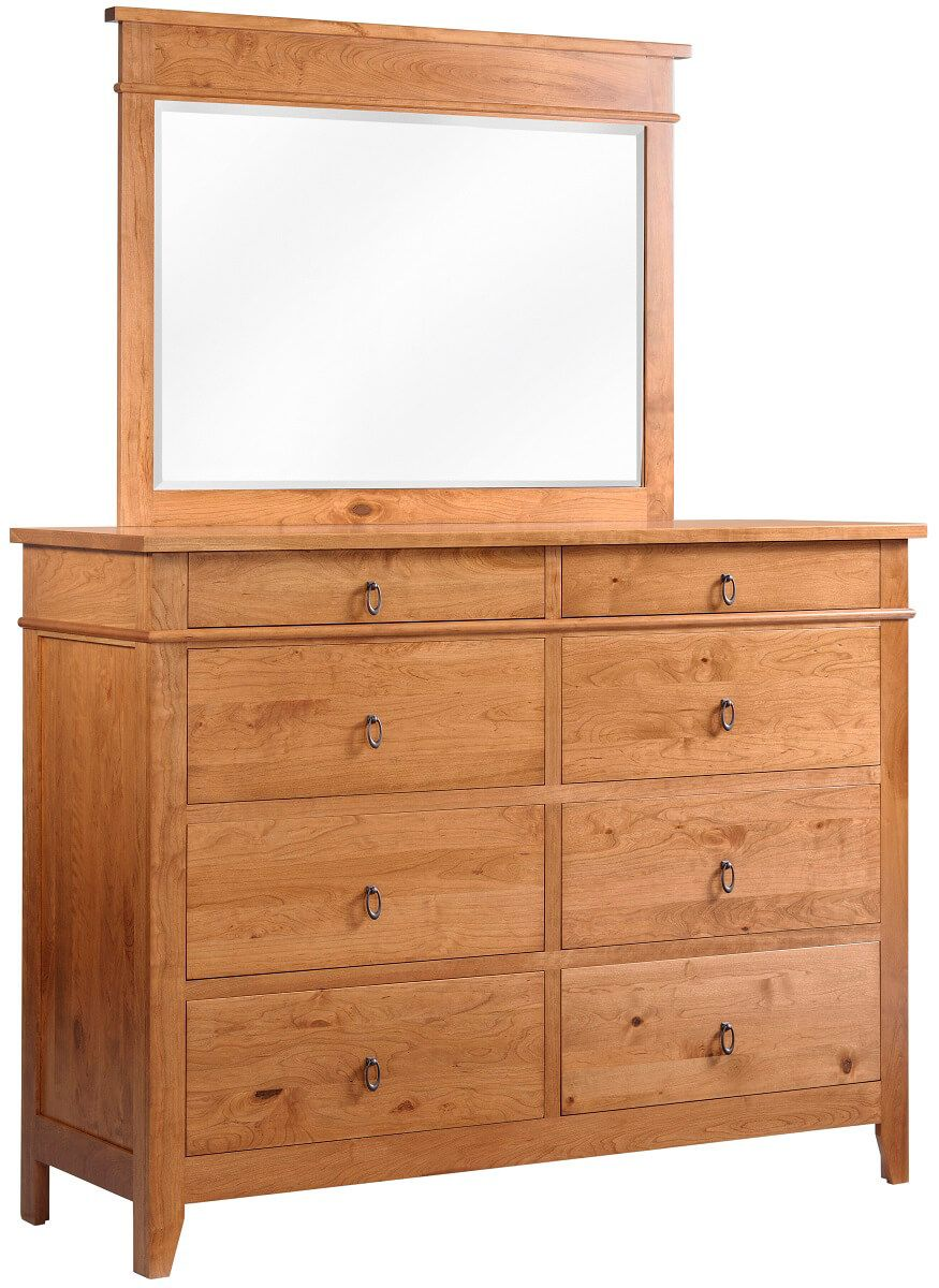 Sonoran Rustic Cherry Dresser with Mirror
