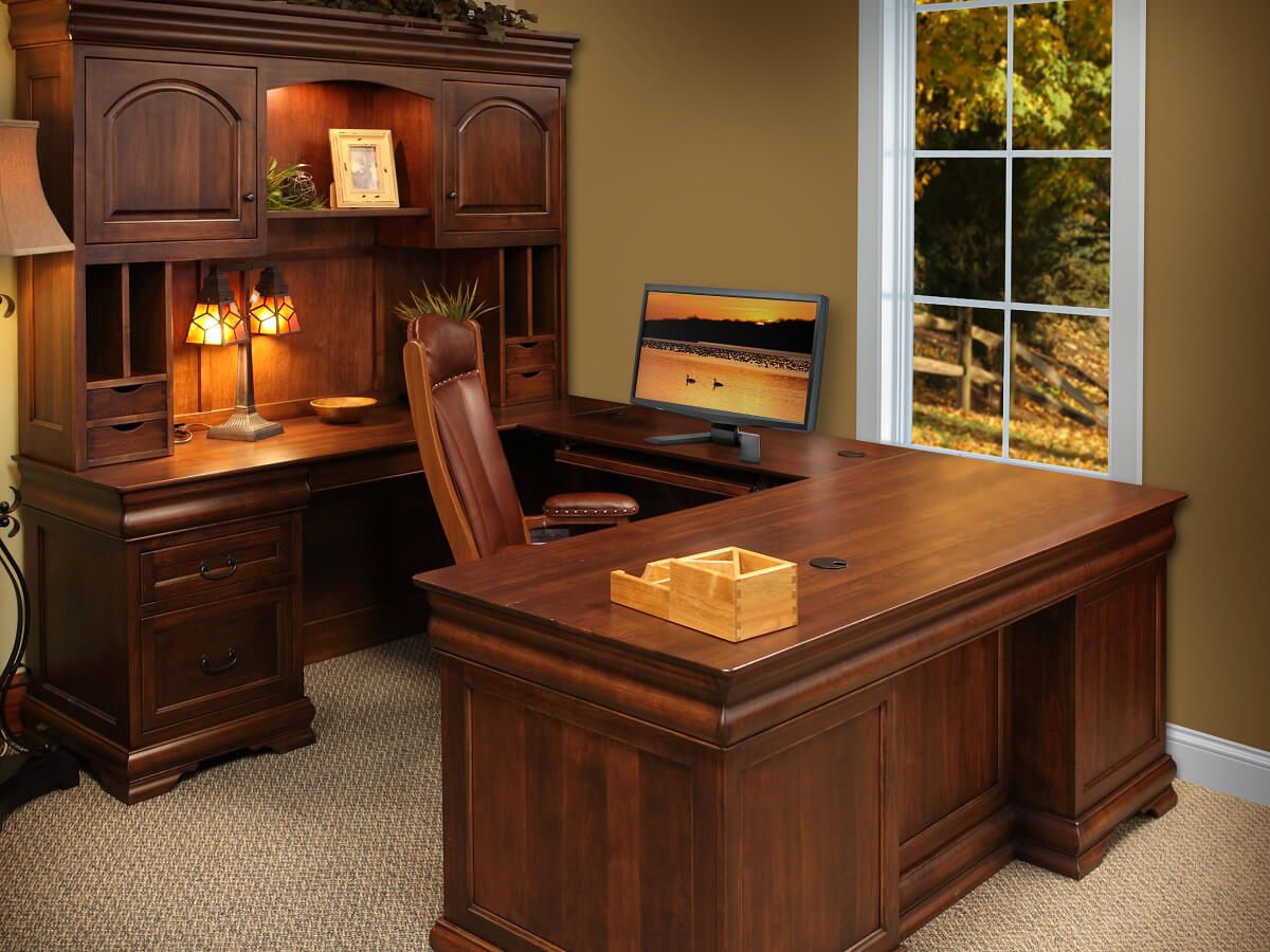 St Gallen Wood U Shaped Desk Countryside Amish Furniture