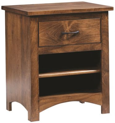 Solid Wood Nightstand in Brown Maple