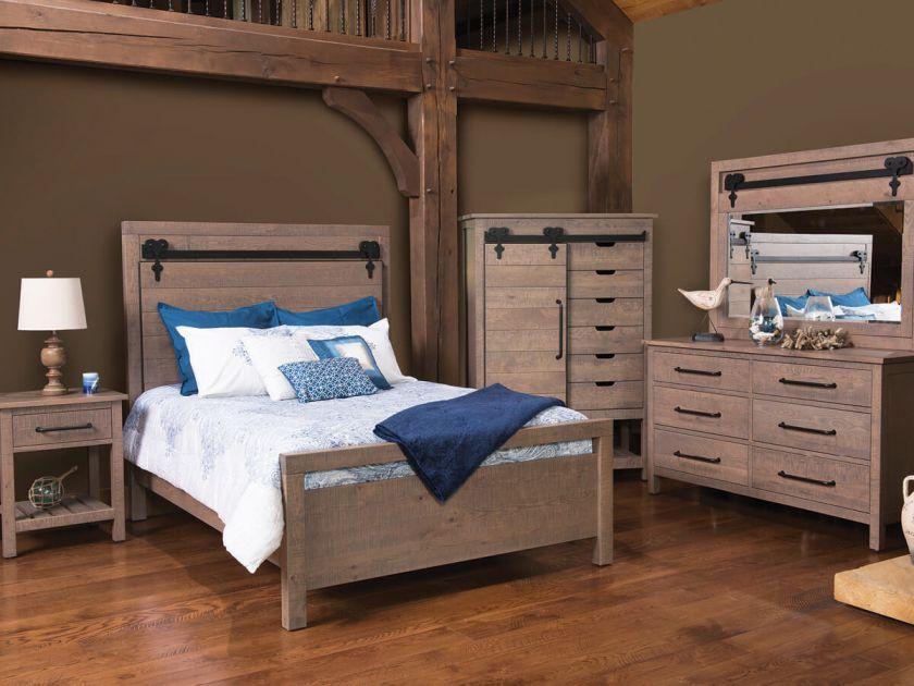 Wesley Barn Door Bedroom Set Countryside Amish Furniture