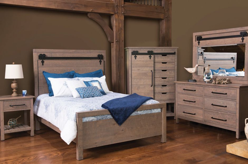 wesley barn door bedroom set countryside amish furniture. Black Bedroom Furniture Sets. Home Design Ideas