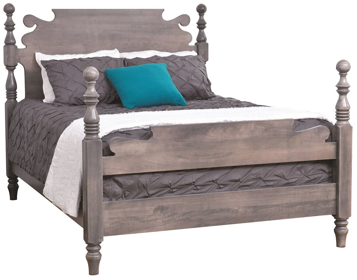 Gray Finish on Brown Maple Bed