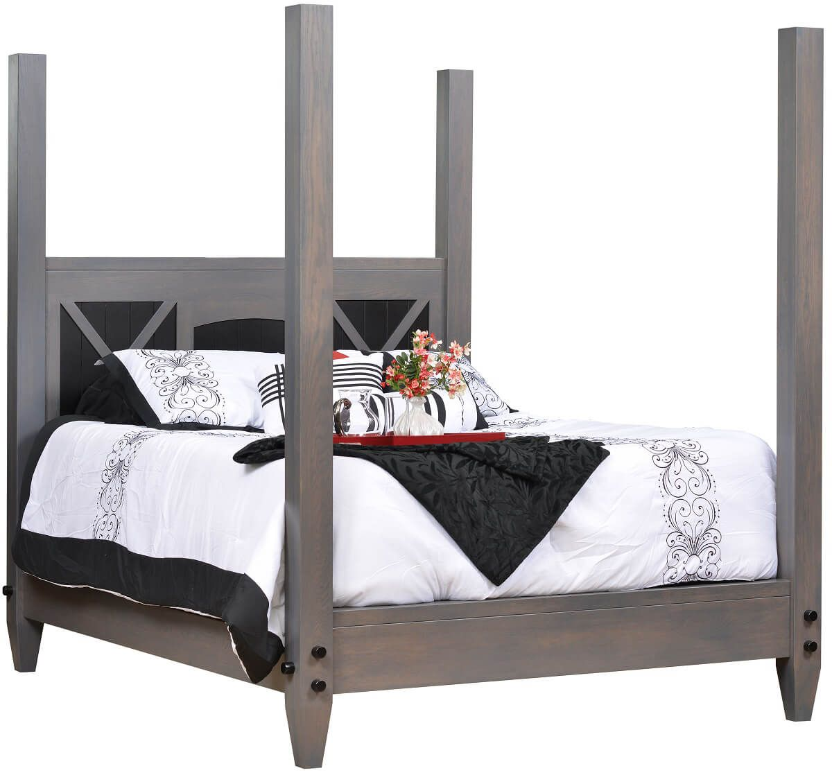 Modern Gray Four Post Bed