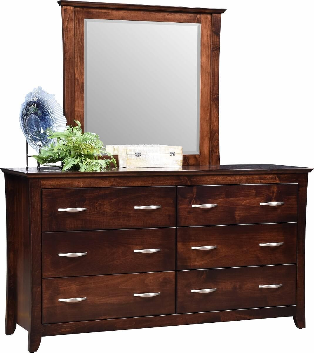 Brown Maple Dresser and Mirror