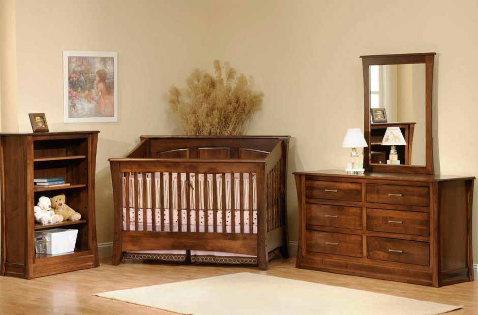 Contemporary Baby Furniture. Rosewood Nursery Set Image 1