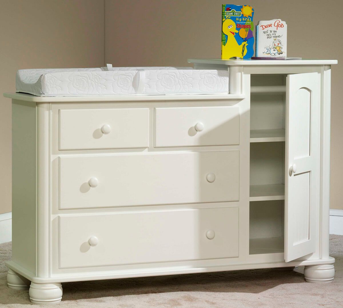 Denbigh Changing Table in Brown Maple painted white