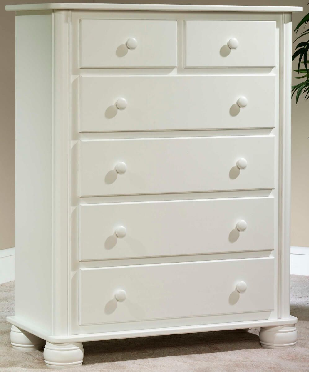 Denbigh Chest of Drawers painted white on Brown Maple
