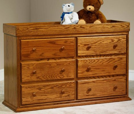 Geneva Nursery Dresser in Oak with Burnished Honey