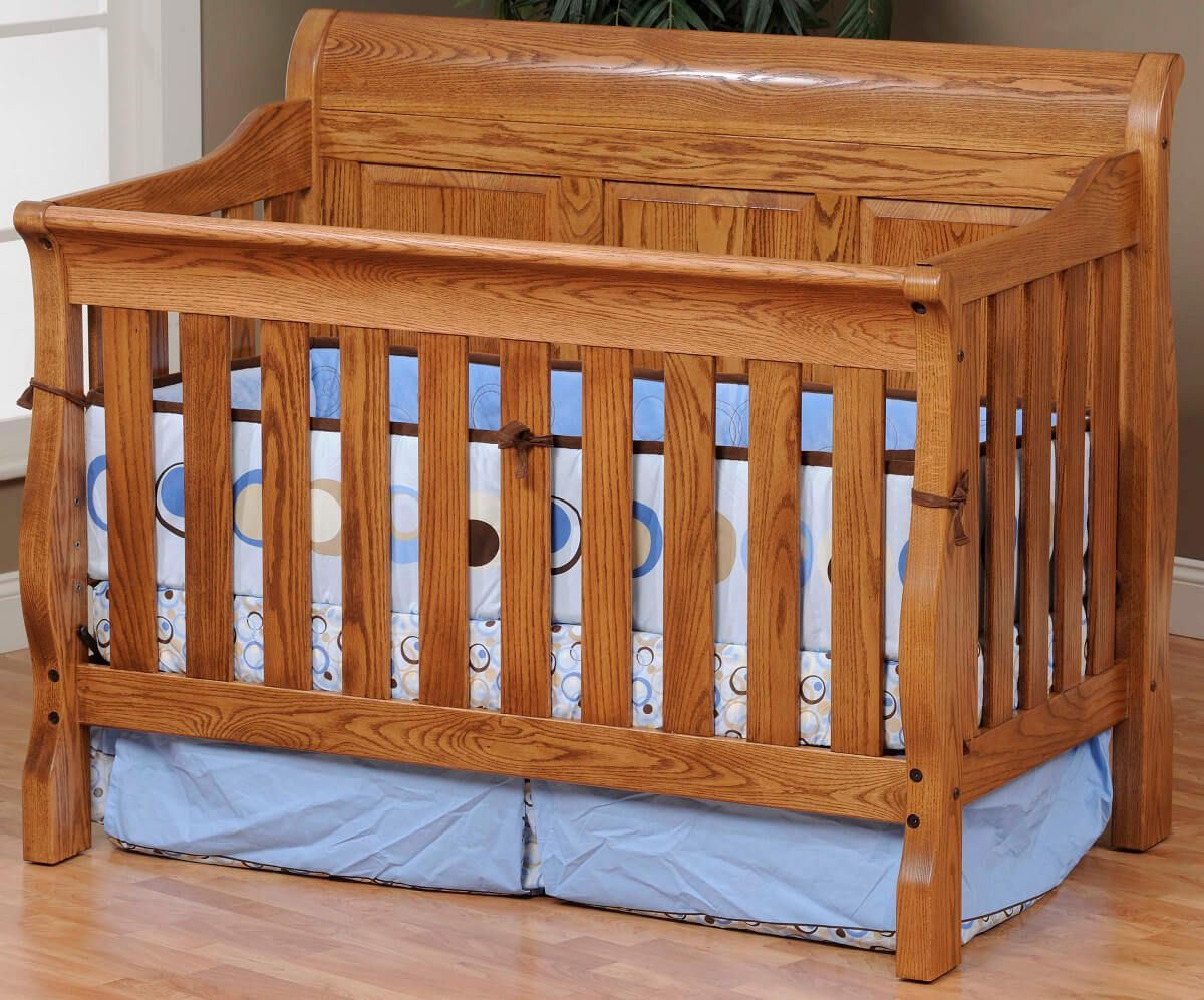 Geneva Panel Crib in Oak with our Spiced Apple finish