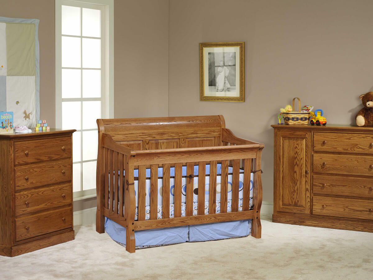 Geneva Panel Crib Set in Oak with Spiced Apple Stain