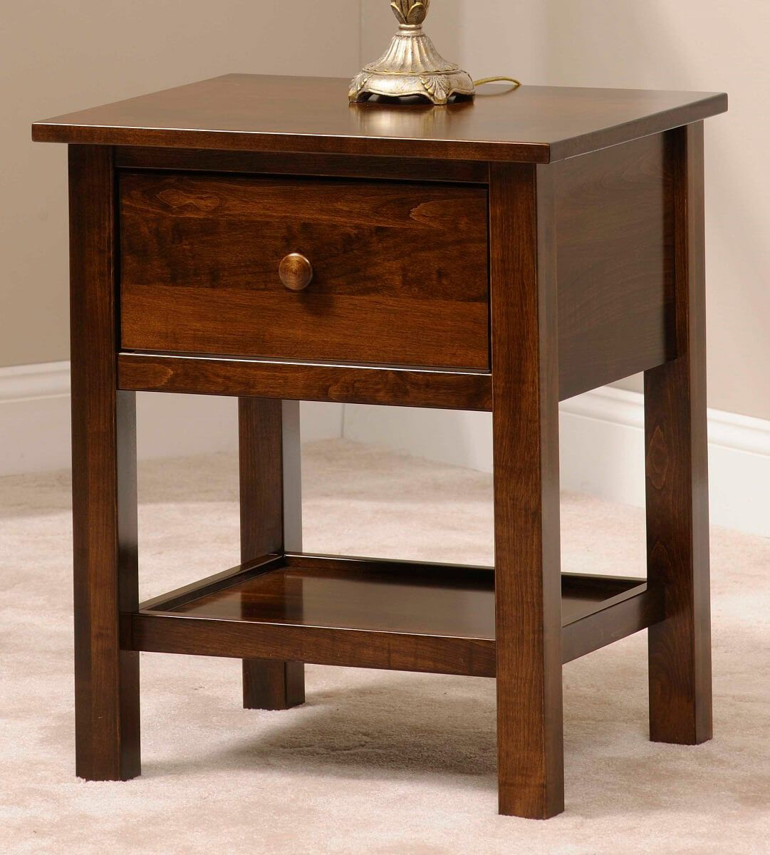 Peaceful Dreams Nightstand in Cafe Americano on Brown Maple
