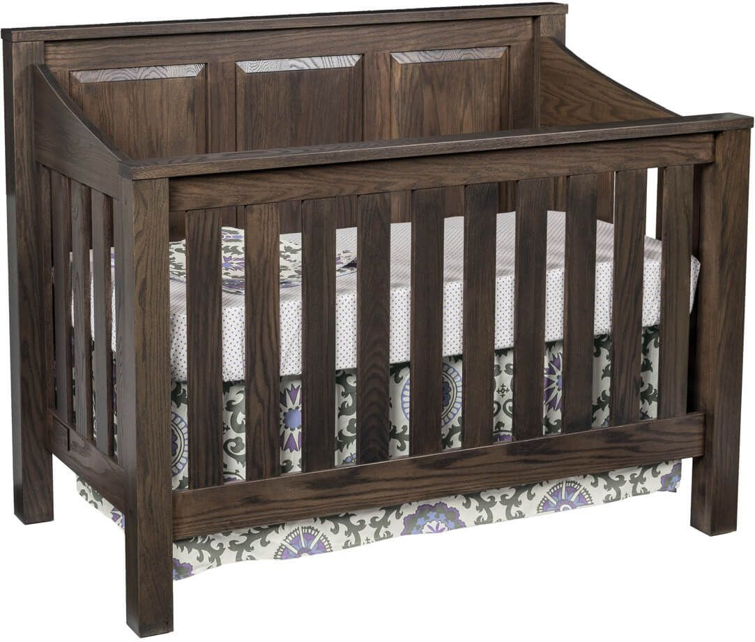 Peaceful Dreams Panel Crib in Oak with Midnight Slate stain