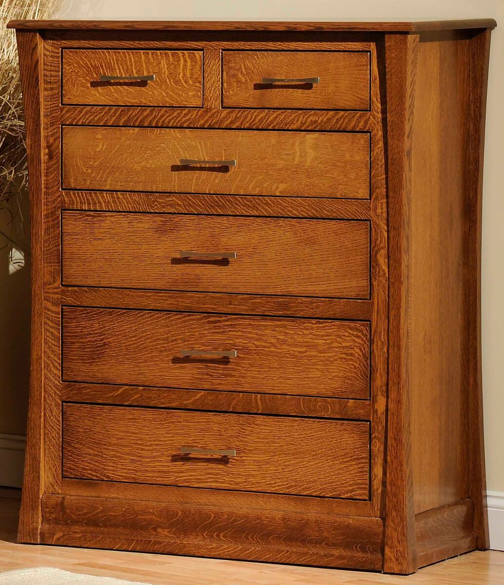 Our Rosewood Chest of Drawers shown in Quartersawn White Oak.
