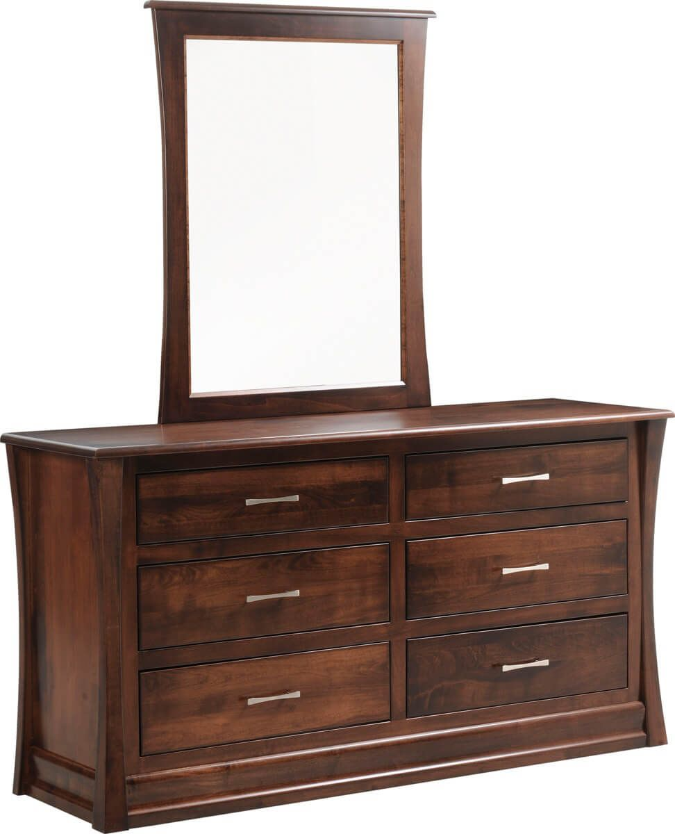 Rosewood Dresser with Mirror in Brown Maple with Cherry Mocha stain