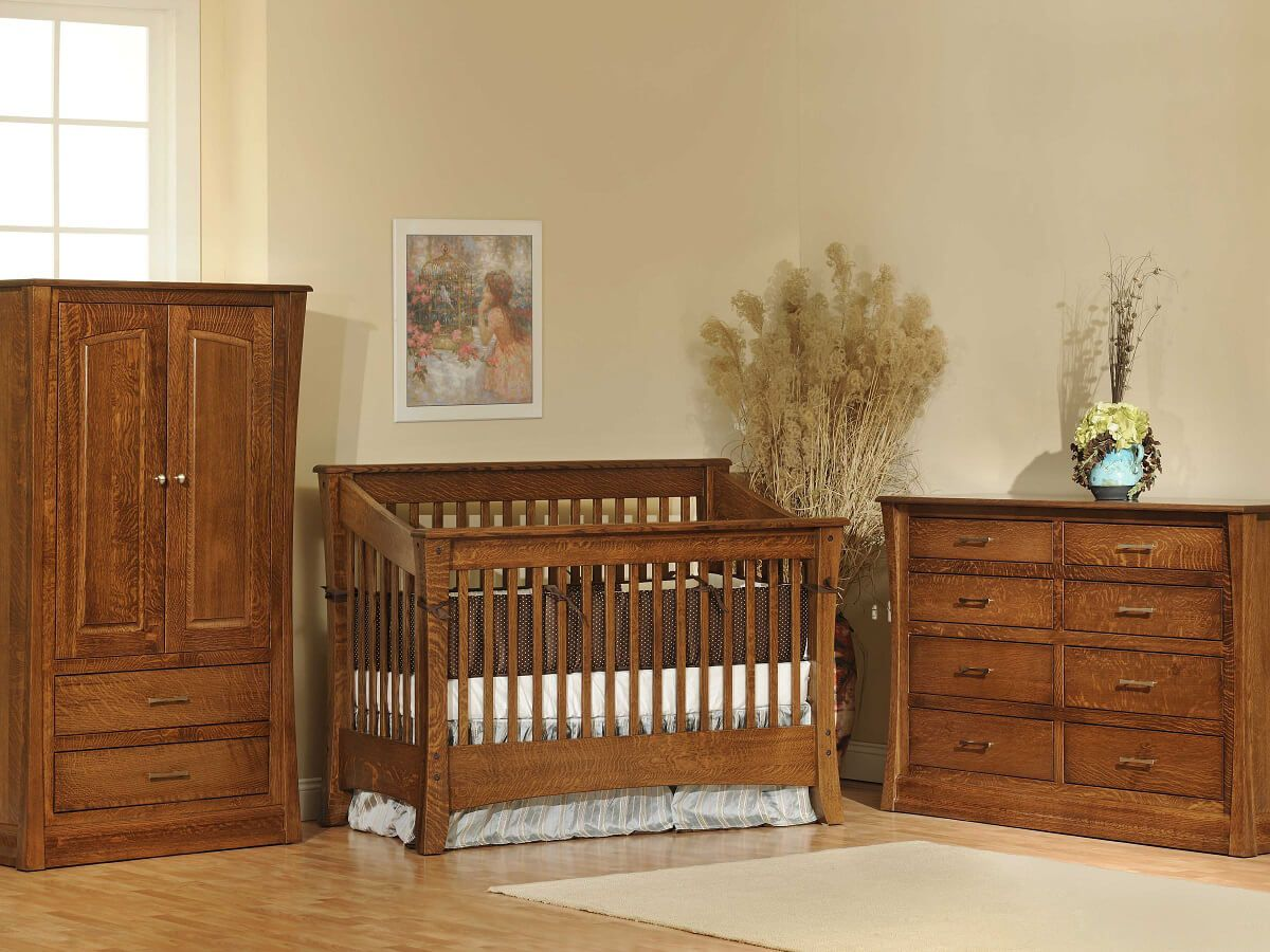 Rosewood Slat Crib Set in Quartersawn White Oak with Burnished Honey