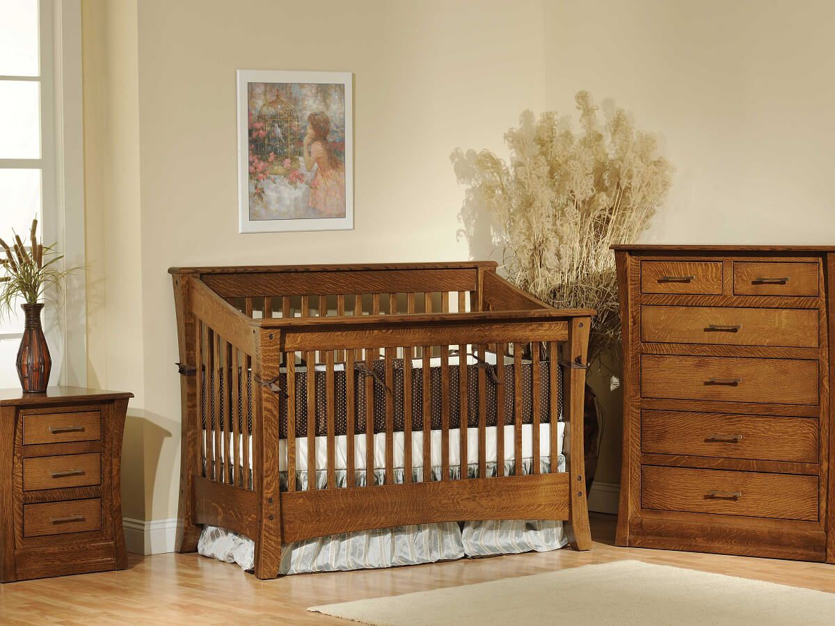 Rosewood Slat Nursery Set in Quartersawn White Oak with Burnished Honey finish