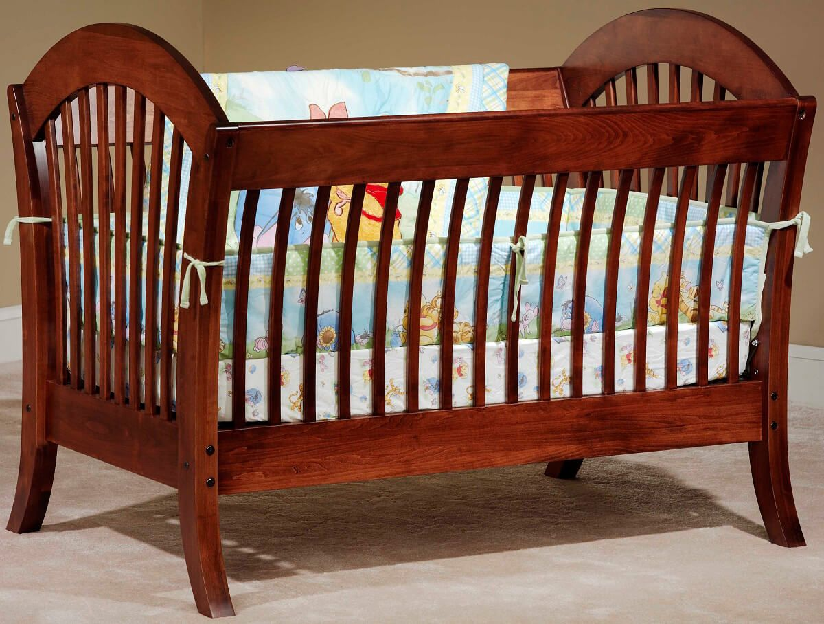 West Village Crib in Brown Maple with our Christmas Cloves finish