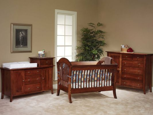 West Village Nursery Set in Brown Maple and Christmas Cloves stain