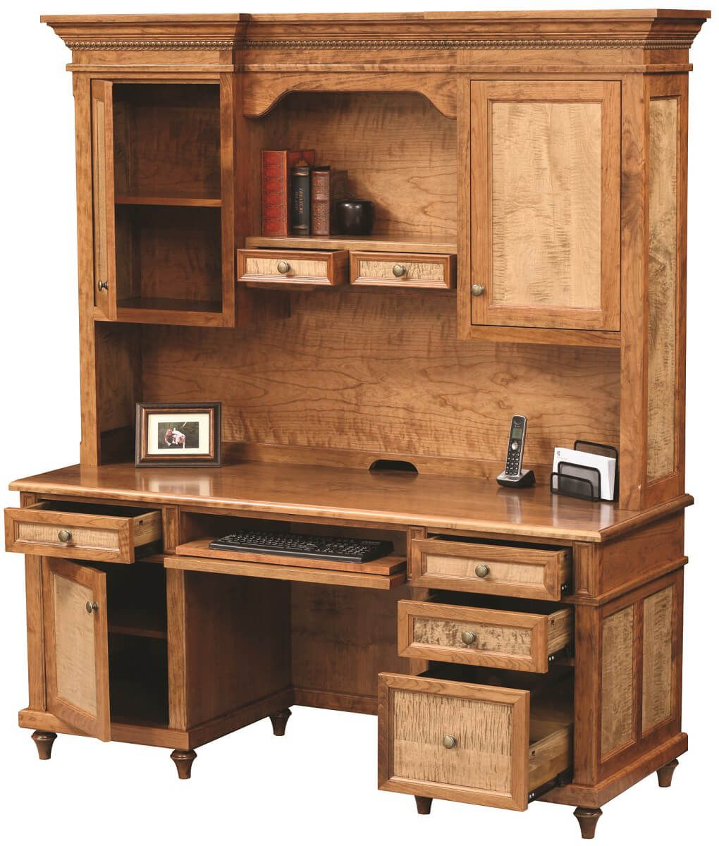 Shown in Cherry with Tiger Maple Panels