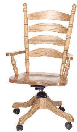 Charlestown Ladder Back Desk Chair in solid Oak