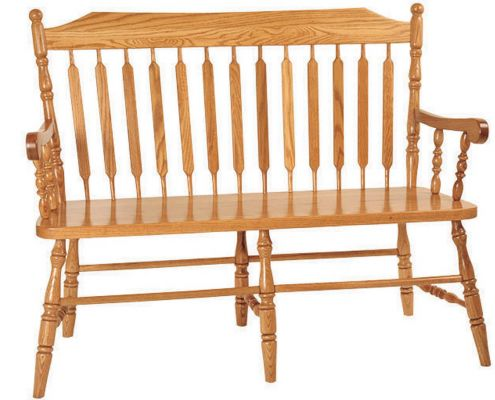 Larkin Paddle Back Bench in Solid Oak