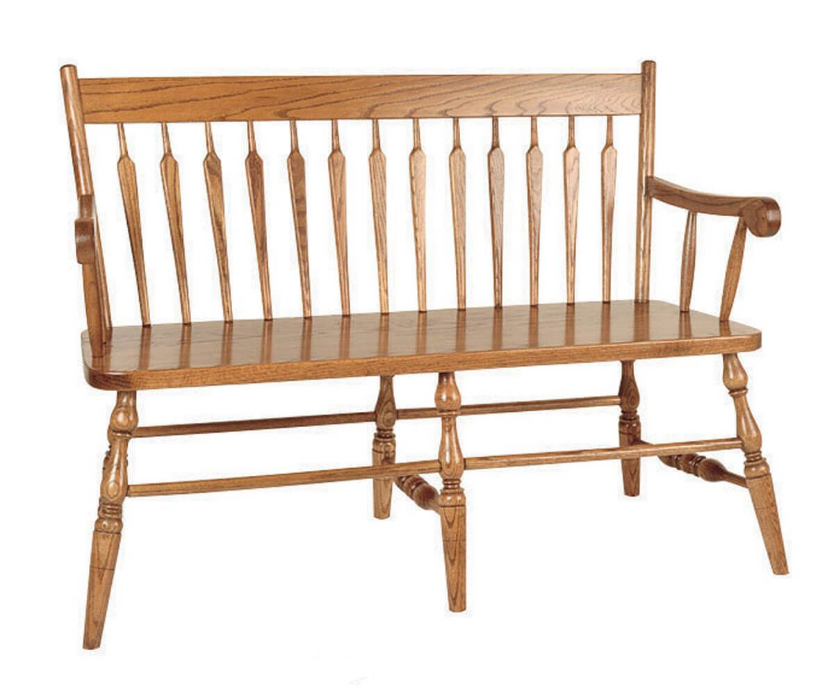 Little Rock Straight Back Bench in Oak