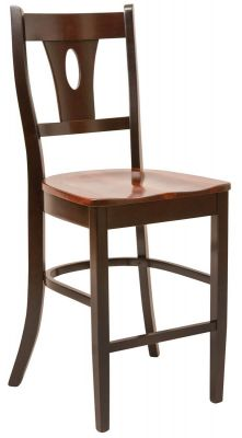 Rye Pub Chair in Brown Maple with Sassafrass seat and Venezuelan Chocolate frame