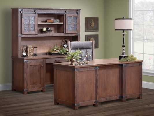 Rustic Americana Hardwood Executive Desk Home Office: Cave Creek Rustic Executive Desk