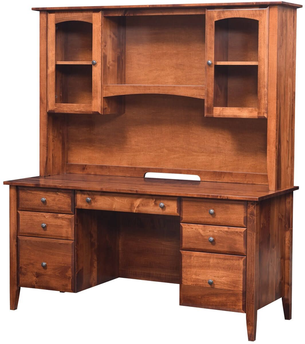 Brown Maple Desk with Hutch